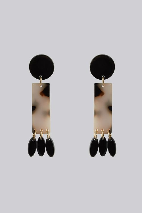 Louche Alphie Rectangle Tortoise Shell Earring With Paddle