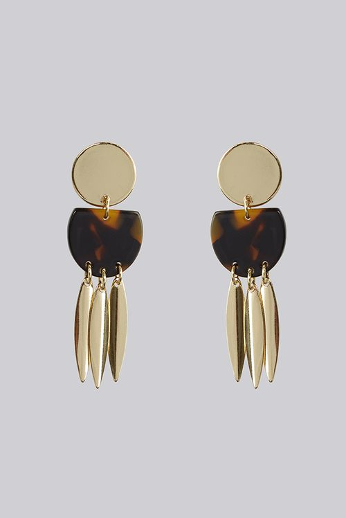 Louche James Tortoise Shell With Gold Paddle Drop Earring