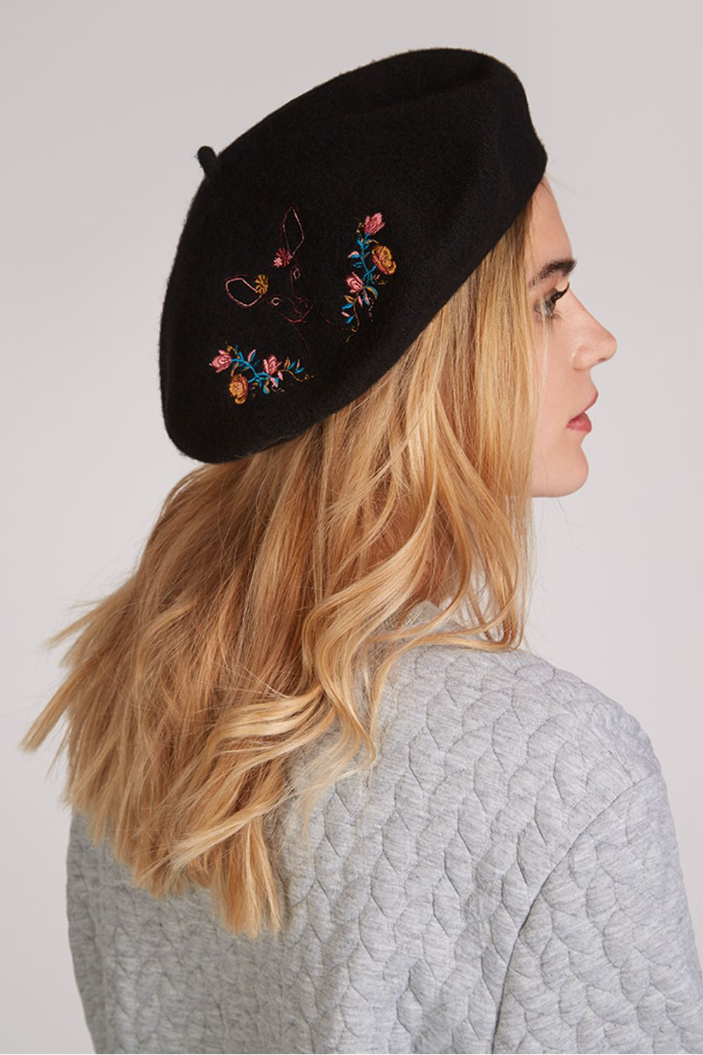 Louche Remi Deer Embroidered Beret Black Wool