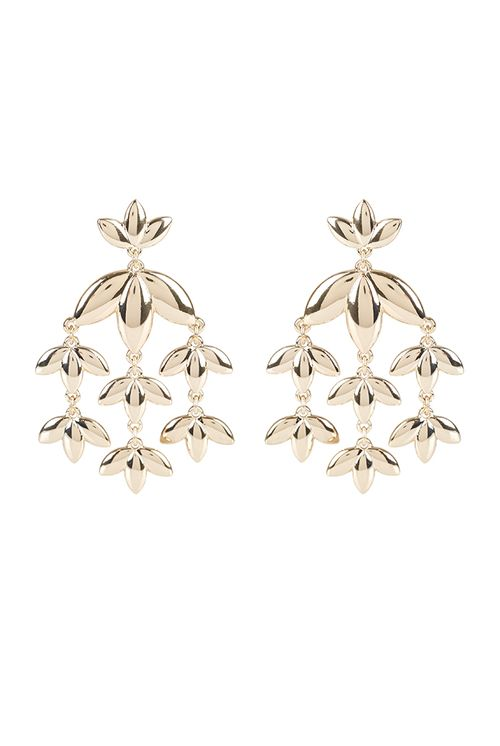Louche Ruby Floral Drop Earring Gold