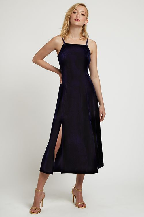 Louche Lubin Velvet Midi Cami Dress Navy