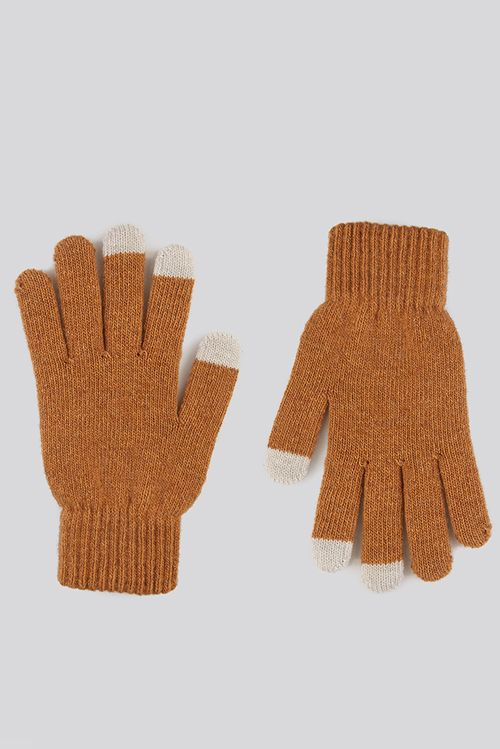 Louche Hahn Mustard Knitted Touch Screen Gloves Mustard