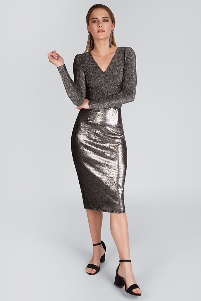 Louche-Leana-Sequin-Skirt-Silver---Main