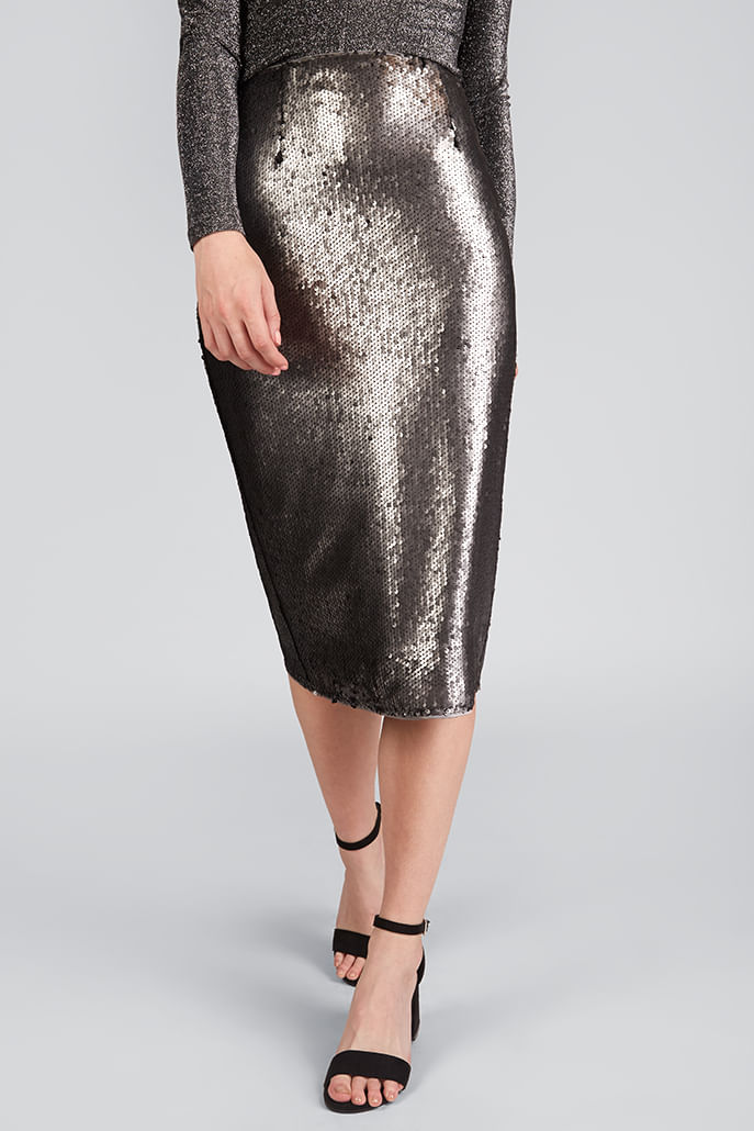 Louche-Leana-Sequin-Skirt-Silver---Second