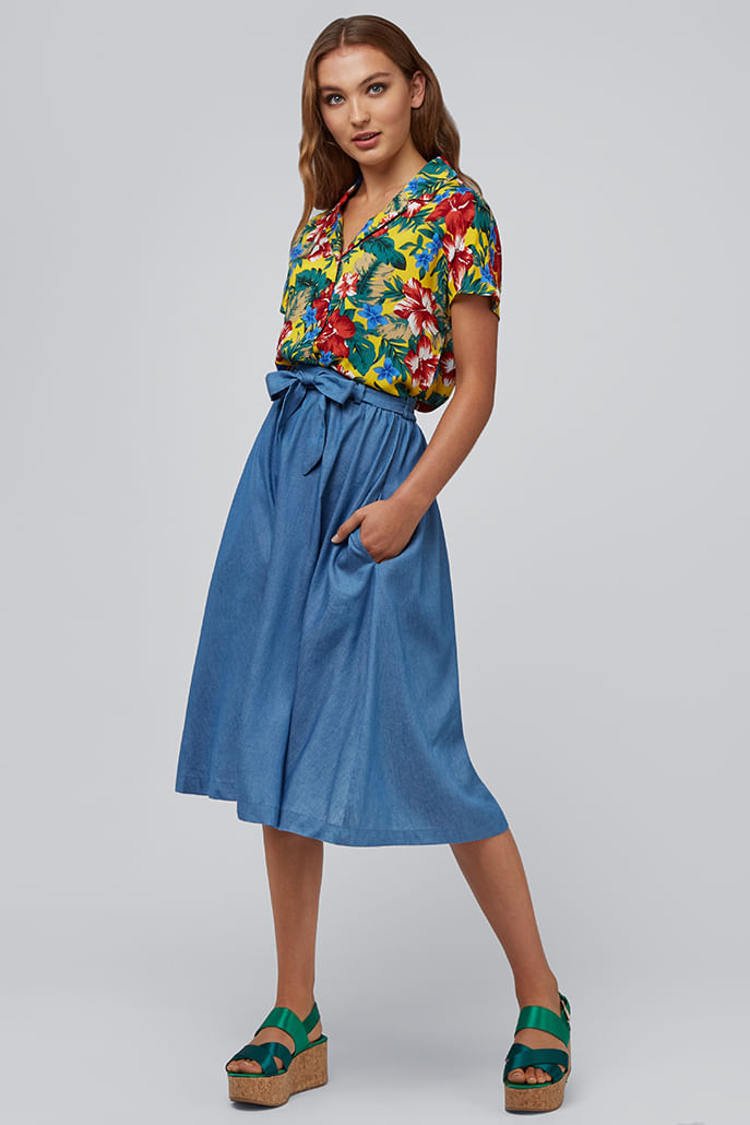 Louche-Matilda-Chambray-Skirt-Blue---Main