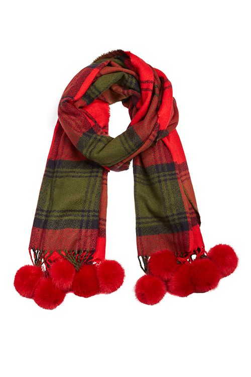 Louche Tarten With Fur Pom Scarf Red