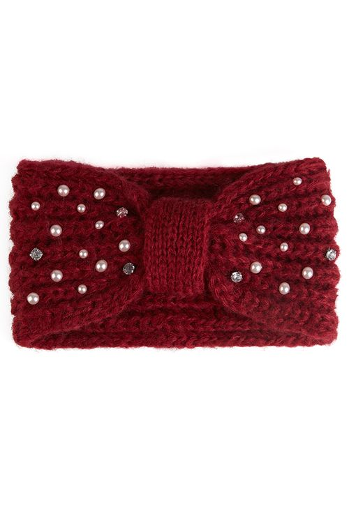 Louche Ayla Knitted Headband With Pearl Detail Burgundy