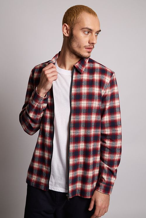Hymn Trail Checked Overshirt Red