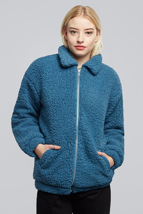 Jdy Harlow Teddy Jacket Blue