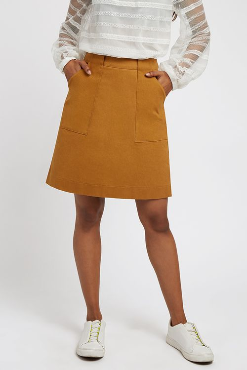 Louche Kris Twill Mini Skirt Tan