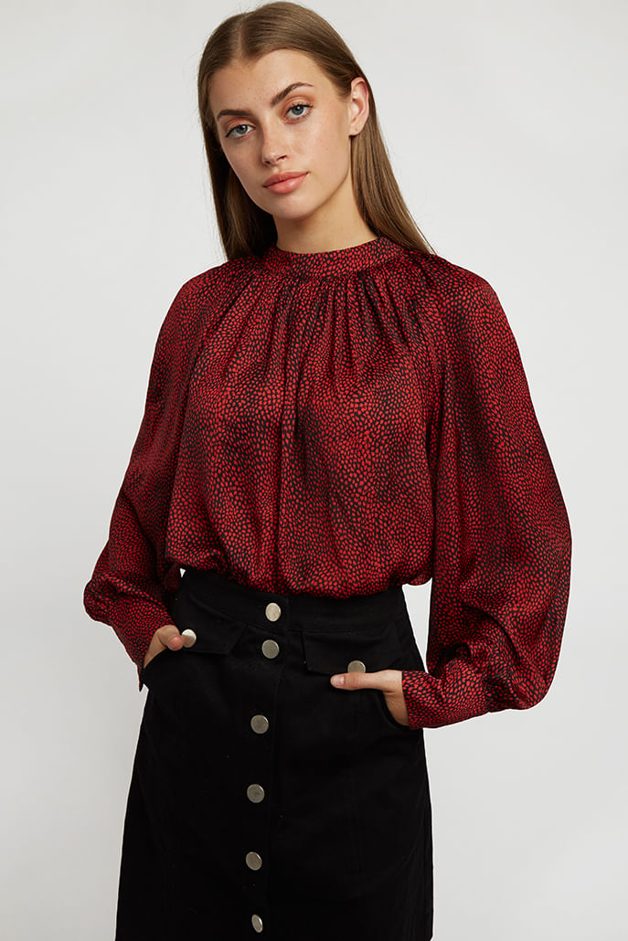 Louche-Harmony-Fleck-Blouse-Red---Main