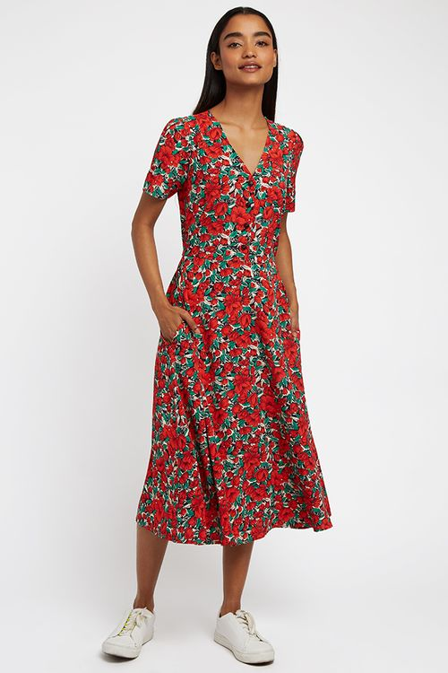 Louche Avril Zinnia Midi Dress Red