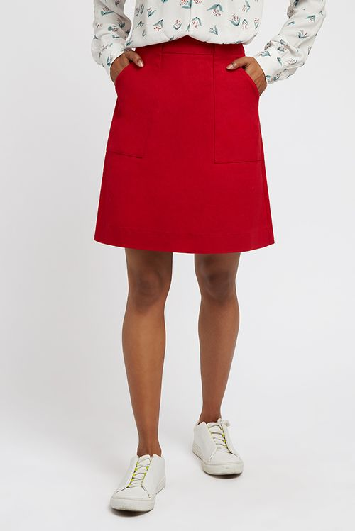 Louche Kris Twill Mini Skirt Red