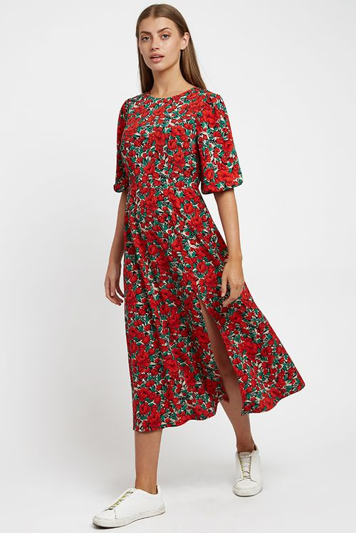 Louche Riley Zinnia Midi Dress Red