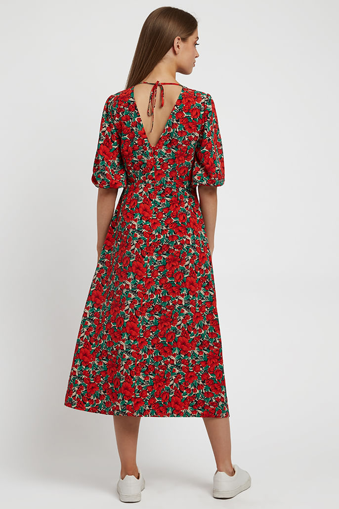 Louche-Riley-Zinnia-Midi-Dress-Red-Second