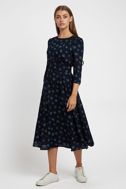 Louche Birte Maybells Midi Dress Navy