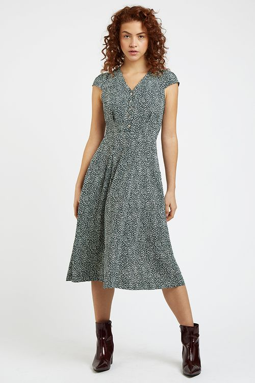 Louche Cathleen Dalmation Print Midi Dress  Green