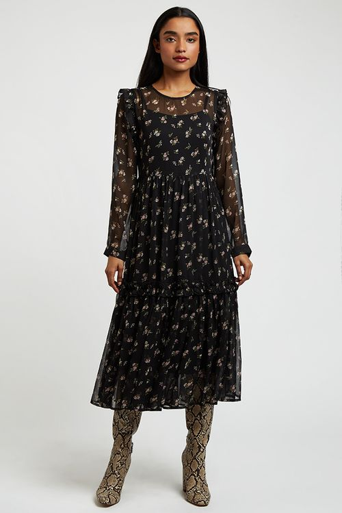 Louche Amara Posie Print Midi Dress Black