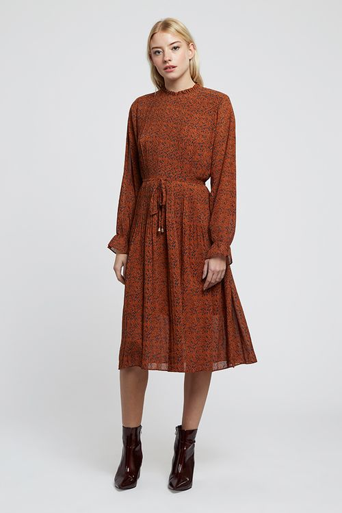 Louche Ouifa Pleated Star Leaf Midi Dress Brown