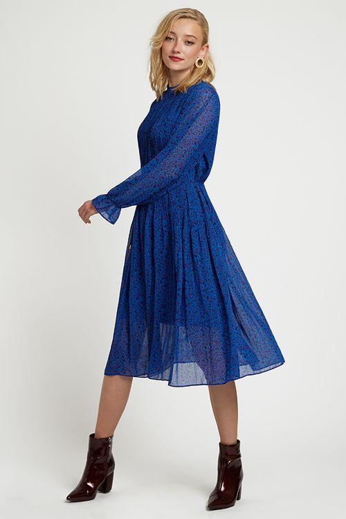 Louche Ouifa Honeysuckle Pleated Midi Dress Blue