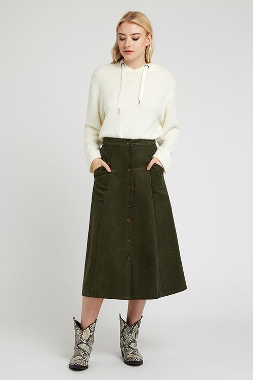 Louche Axel Cord Midi Skirt Green