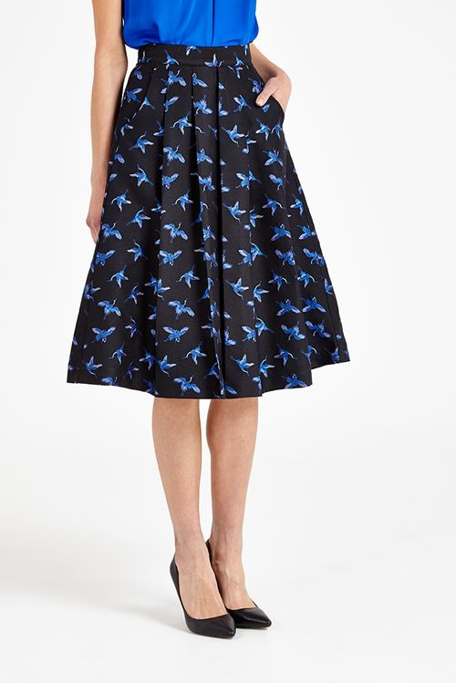 Louche Pasadena Jacquard Bird Print Pleated Skirt Black/Blue