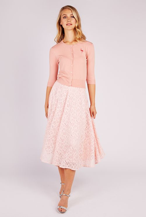 Louche Meda Lace Midi Skirt Pink
