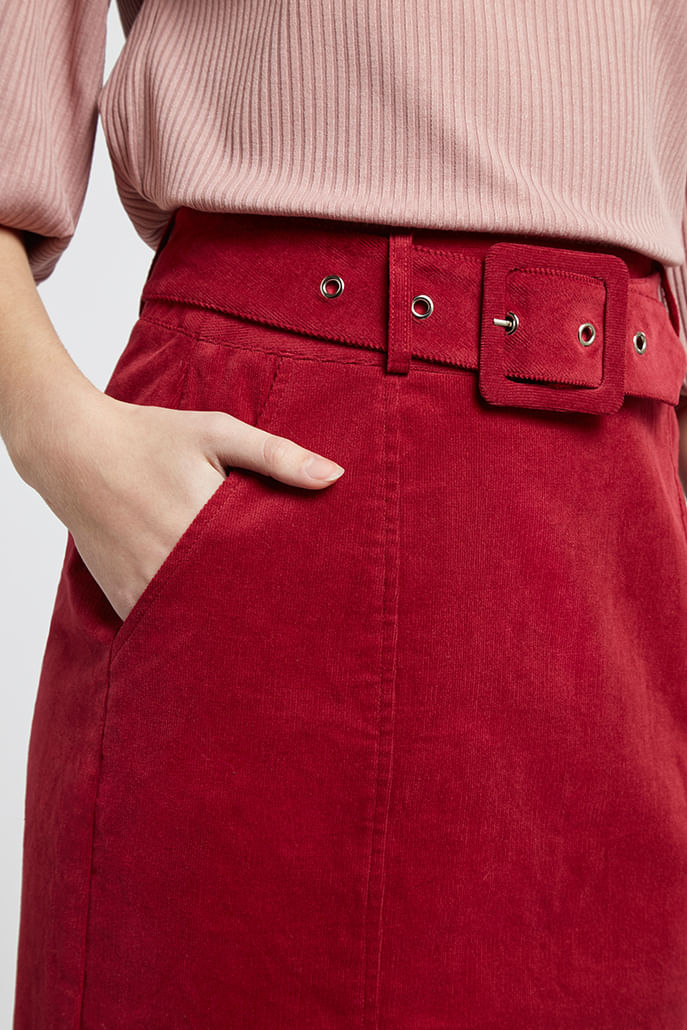 Louche-Amir-Belted-Cord-Mini-Skirt-Burgundy-Other