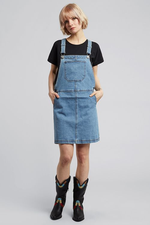Bravesoul Pippa Pinafore Denim Dress Blue