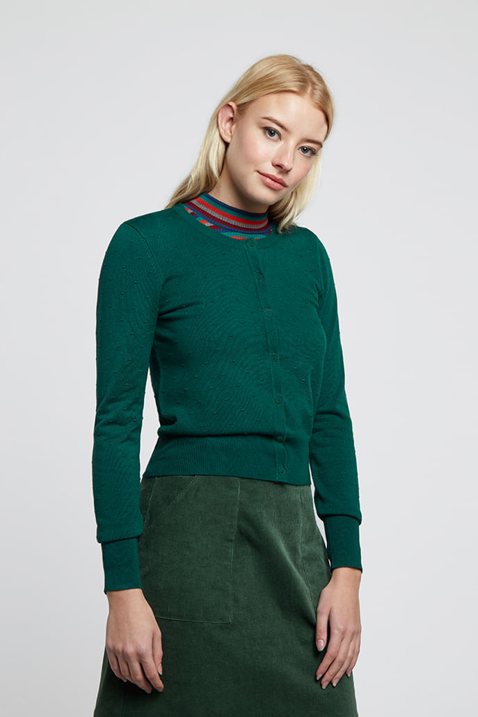 Louche-Idie-Spot-Button-Through-Cardigan-Green-Main