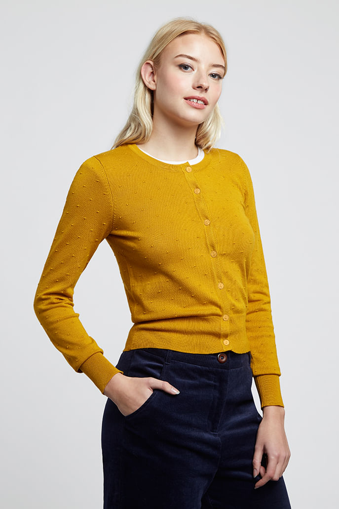 Louche-Idie-Spot-Button-Through-Cardigan-Mustard-Main