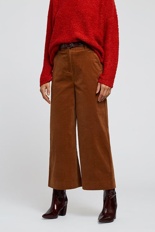 Louche Madison Wide Leg Cord Trouser Brown Toffee