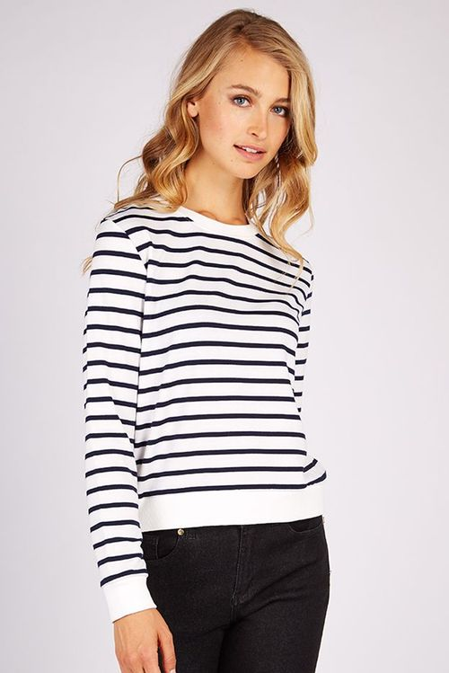 Louche Jayton Stripe Jumper Navy/White