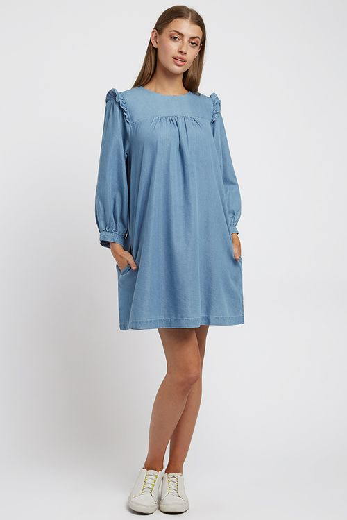 Louche Elly Chambray Mini Dress Blue