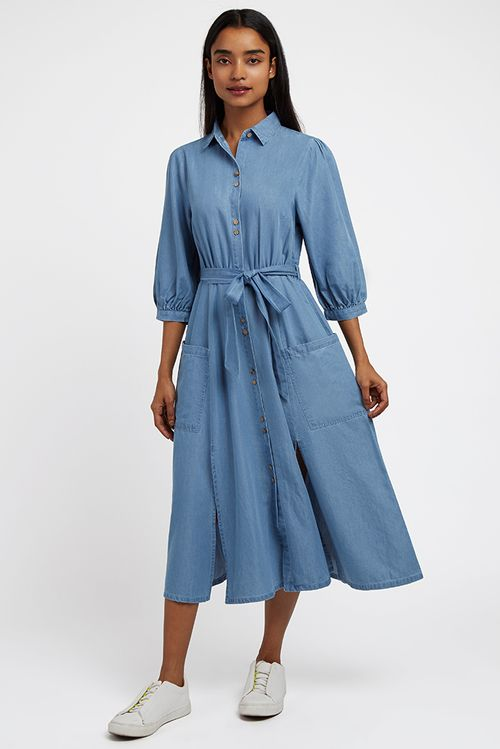 Louche Lilwenn Chambray Midi Dress Chambray