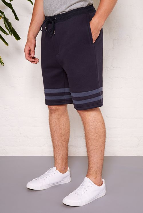 Hymn Agassi Stripe Applique Jersey Shorts Navy