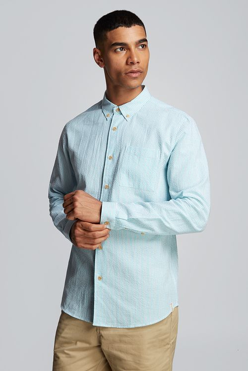 Hymn Deckchair Seersucker Stripe Shirt Blue
