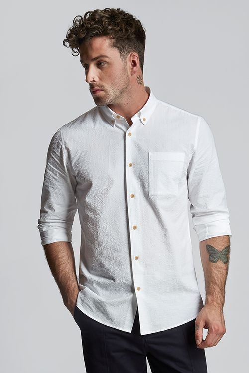 Hymn Grass Seersucker Shirt White