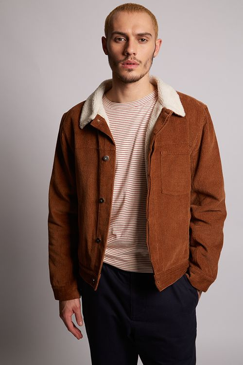Hymn Laurel Borg Lined Cord Trucker Jacket Camel