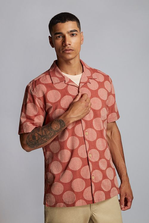 Hymn Printed Spot Resort Shirt Orange