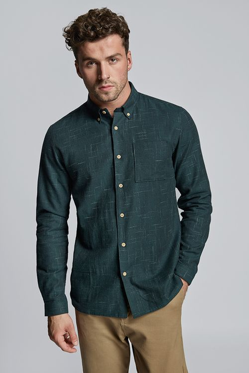 Hymn Shark Brushed Crosshatch Shirt Green