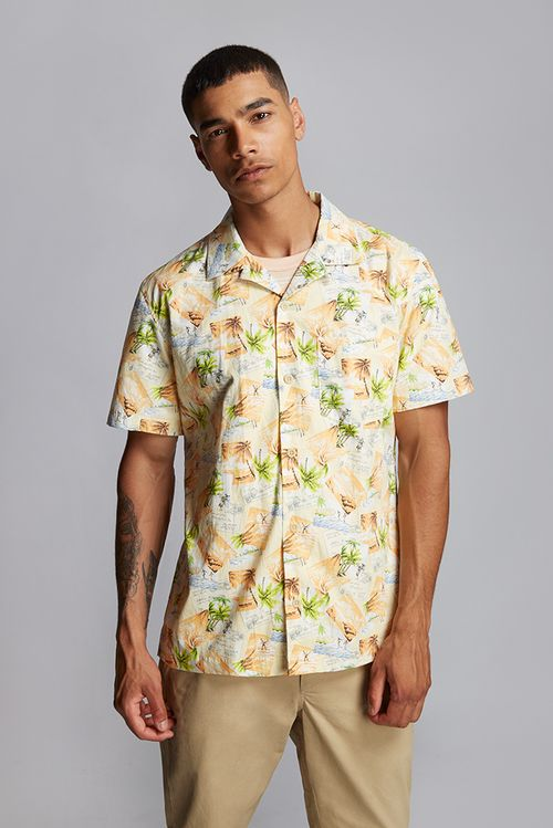 Hymn Postcard Tropical Print Resort Shirt Orange