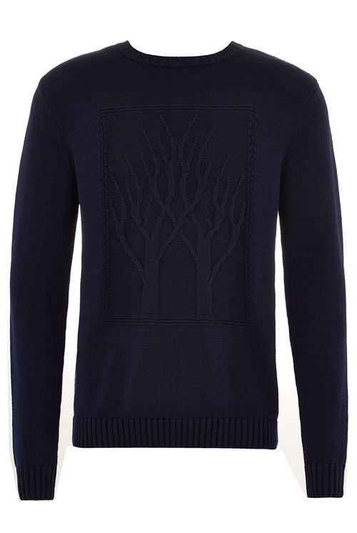 Hymn Twin Trees Embossed Jumper Navy