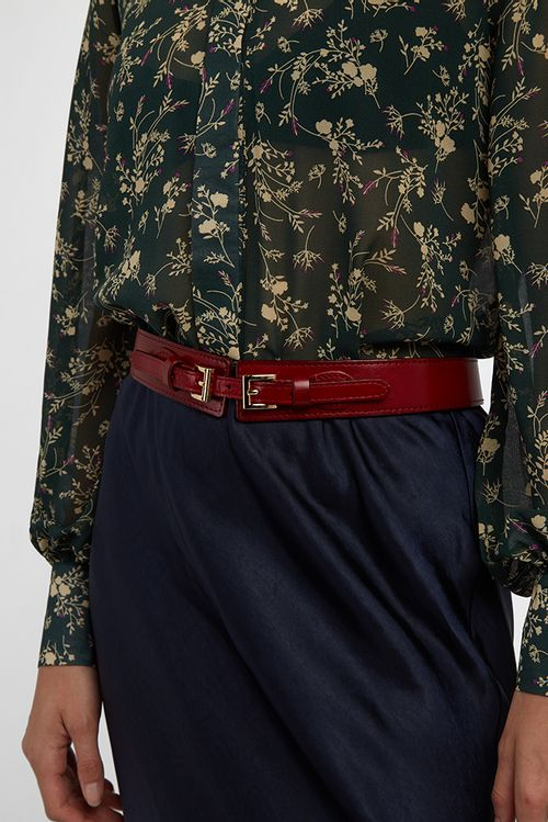 Louche Isaac Leather Belt Red