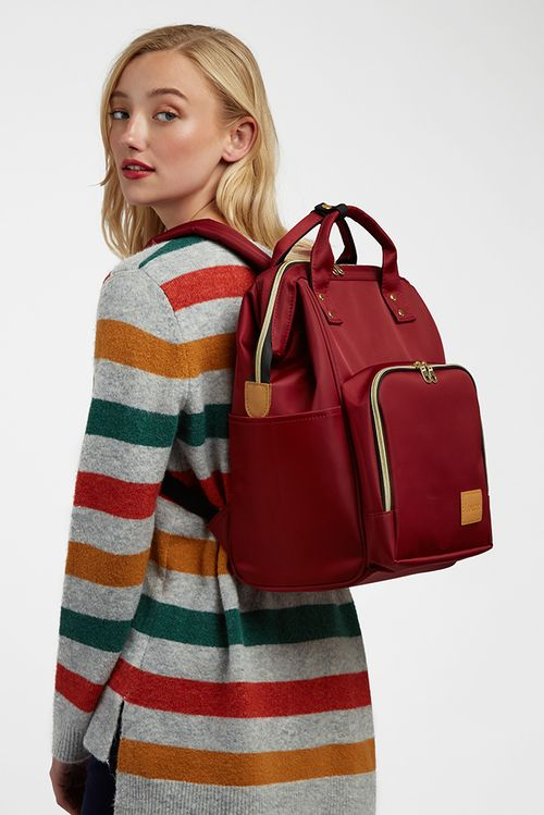 Louche Lexi Framed Backpack Burgundy