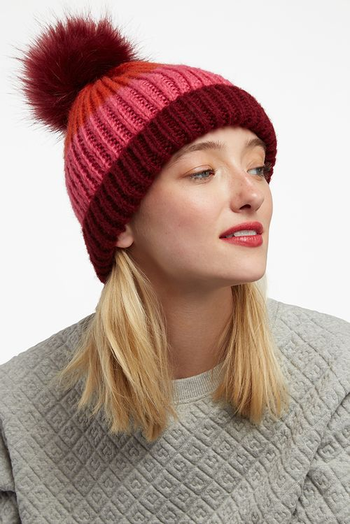Louche Tola Striped Beanie Pink