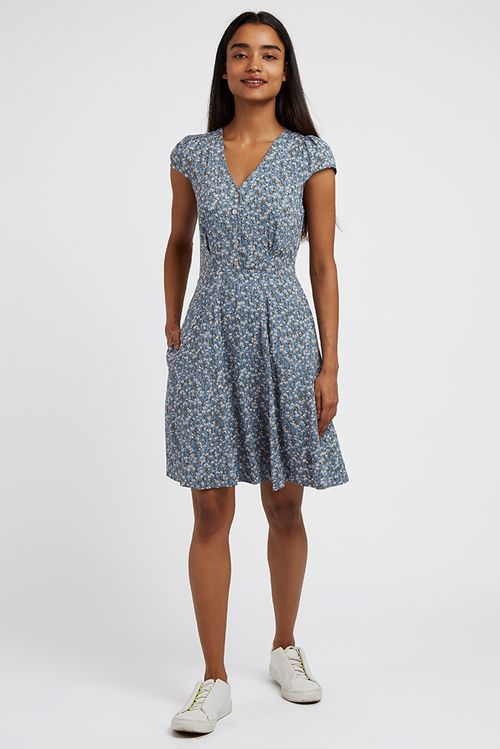 Louche Cathleen Flax Mini Dress Blue