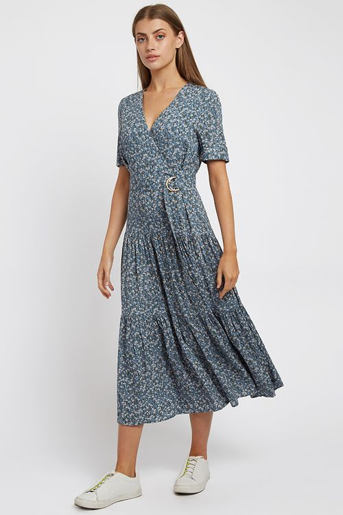 Louche Emin Flax Midaxi Dress Blue