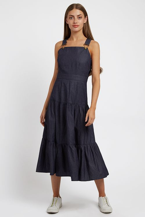 Louche Melanie Chambray Midi Dress Blue