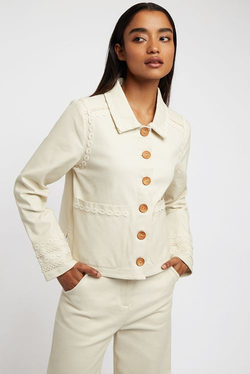Louche Koto Embellished Twill Jacket Cream